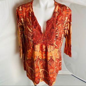 One World orange flowy v-neck top